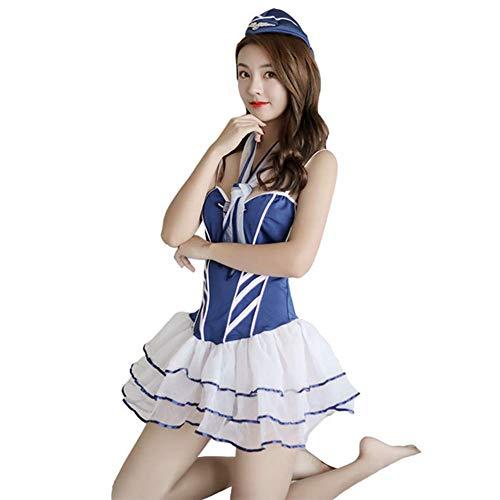 QIAO Cosplay Lace Sling Low-Cut Puff Rock Sexy Stewardess Uniform - Sexy Kostüm Enthüllt