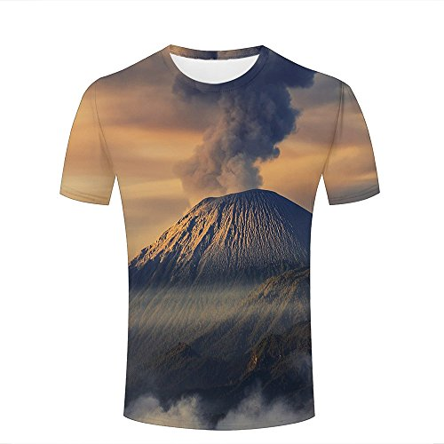 Mens Casual Design 3D Printed Eruption of Volcano Graphic Short Sleeve Couple T-Shirts Top Tee M (Kitty-peeling)