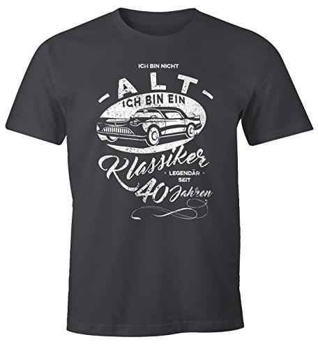 MoonWorks Herren Geschenk T-Shirt zum Geburtstag Ich Bin Nicht alt Ich Bin EIN Klassiker Auto Retro Oldtimer Spruch 30-90 Jahre 40 dunkelgrau L
