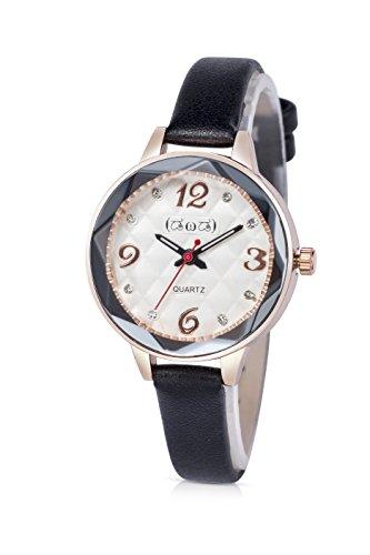 Smileyes Damenuhr Leder Armband Kupfer Armbanduhr Quarz Analog Uhr #TSW014L.01A (Herren-leder-kupfer-armband)