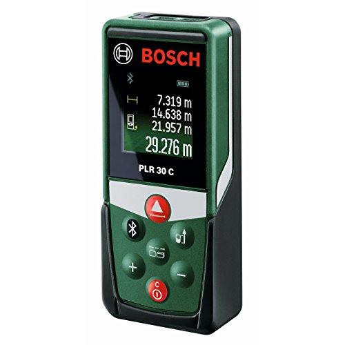 Bosch Digitaler Laser Entfernungsmesser PLR 30 C (App Funktion, 3x AAA Batterien, Schutztasche, Messbereich: 0,05 - 30 m)