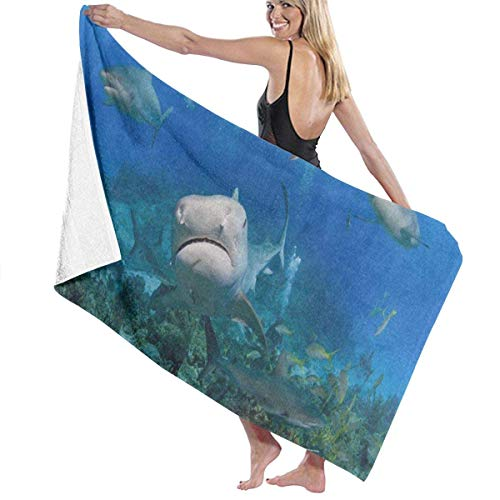 Beach Bath Towel Tiger Shark from Coral Reef Personalized Custom Women Men Quick Dry Lightweight Beach & Bath Blanket Great for Beach Trips, Pool, Swimming and Camping 31