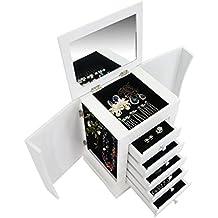 Todeco - Caja para Joyas con Compartimentos, Mueble para Joyas con Cajones - Material: MDF - Numero de sostenes de anillos: 1 cajón - 36 x 28,5 x 23 cm, Blanco