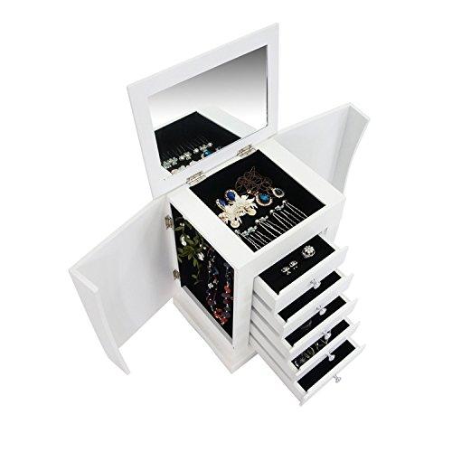 Todeco - Boîte à Bijoux avec Compartiments, Meuble à Bijoux avec Tiroirs - Matériau: MDF - Nombre de porte-bague: 1 tiroir - 36 x 28,5 x 23 cm, Blanc