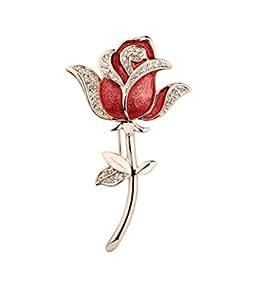 Ijewellery San Valentino Placcato Oro Rosa fiore rosso con cristalli Austria Socialite Spilla per le donne libera Gift Box A73