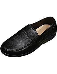 Jiyaru Hombre Casual Sin Cordones Zapatos de trabajo Clásico Oficina Cómodo Mocasines Negro