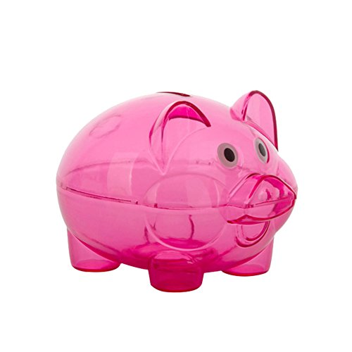 Schönes durchsichtiges Kunststoff-Sparschweinchen für Münzen und Bargeld, zum Öffnen, Geschenk für Kinder, plastik, rosarot, Einheitsgröße