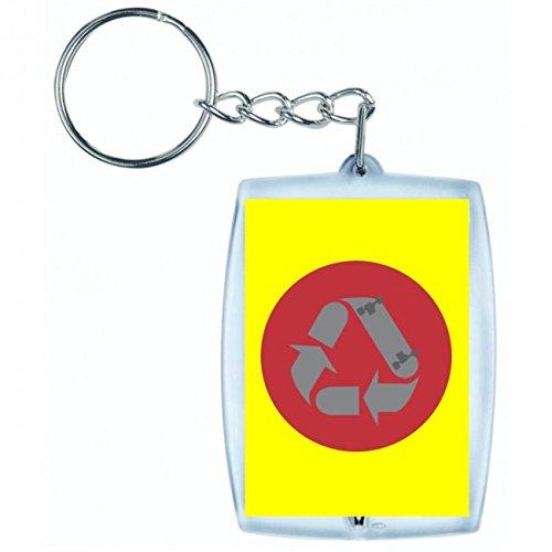 Druckerlebnis24 Schlüsselanhänger Skateboard- Recyceln- Symbol- Jung- Lebensstil- Deck- Jugend- Vektor- Kreis- Rot- Grau in Gelb | Keyring - Taschenanhänger - Rucksackanhänger - Schlüsselring