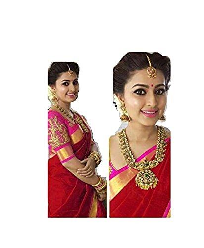 Bollywood Indian Traditional Collection Party Wear Cotton Silk Saree Sari,Function, Karneval, Birthday Dress, Geburtstag, Indische Kleid,Hippie Kleid (Red) -