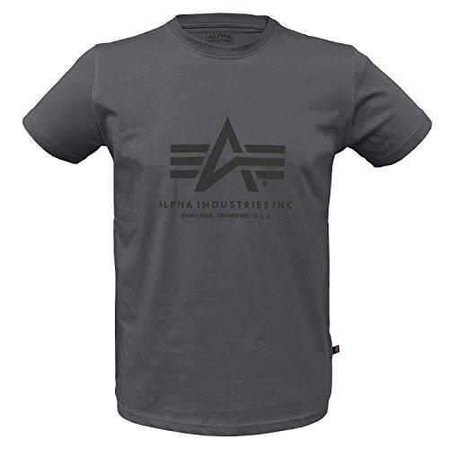 Alpha Ind. Basic T-Shirt greyblack/Black - L (Industrie-kurzarm-baumwolle)