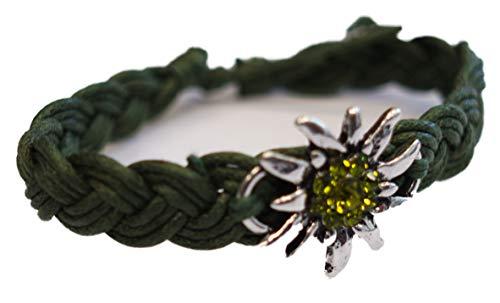 Bracciale per costume tradizionale – Gioielli da drago, bracciale bavarese, cordoncino in colori tradizionali e placcato Argento, colore: verde abete, cod. SR-20017