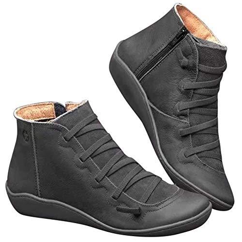 Arch Support-Aufladungen für Frauen, Bequeme Damen Heel 3.5cm Booties Herbst-Winter-beiläufige Damen Schuhe Stiefel mit Reißverschluss -