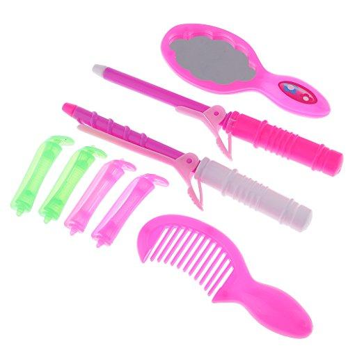 Homyl 6 Stück Mini Lockenwickler, Lockenstab, Spiegel und Kamm Puppenzubehör Für Barbie Puppe