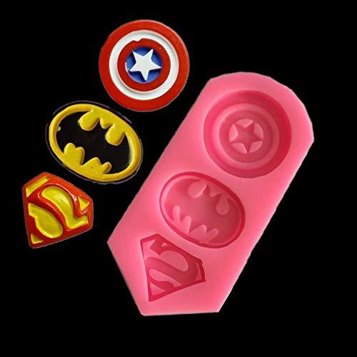 3D Captain America Schild, Batman, Superman Form, Silikonform, Kekse, Fondant, Kuchen, Backwerkzeug, Yichener (Batman Cake Pops)