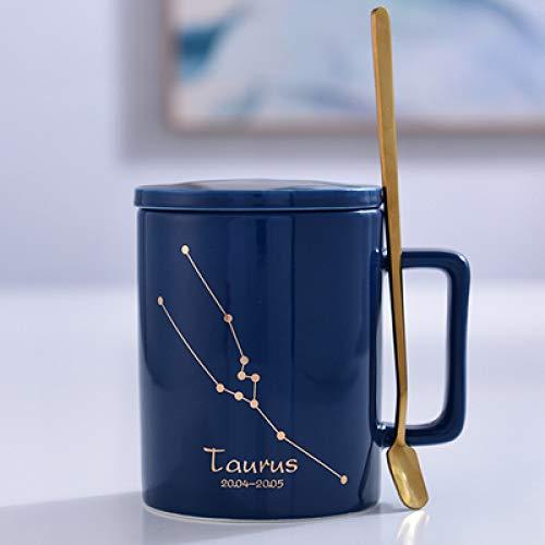 Kaffeetasse kreative Keramik Tasse einfach mit Deckel Löffel Becher Büro Teetasse Haushalt Wasser Tasse