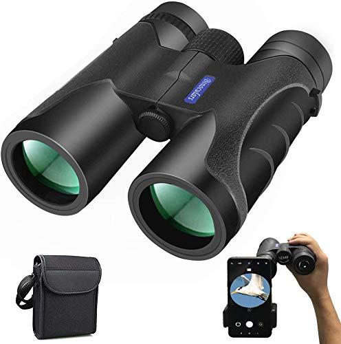 Prismaticos Profesionales, Nobebird 12x40 HD Binoculares Vision Nocturna, Prismas BAK4 y FMC, Ligero e Impermeable, Observación de Aves, Senderismo, Astronomía y Camping, con Soporte para Teléfono