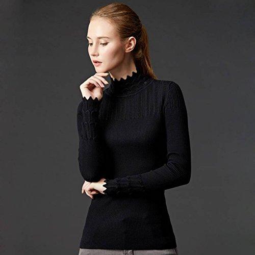 Good dress Damen Pullover Sets von Semi-Hohen Kragen Pullover Slim All-Match-Primer-Pullover , schwarz , Einheitsgröße