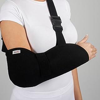 ArmoLine Deluxe Arm Sling Breathable Fabric for Adult Black Broken Arm Bandage for Broken Wrist Shoulder immobilizer (XXL)