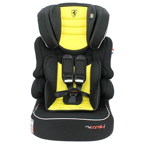 Mycarsit Siège Auto et Rehausseur Ferrari, Groupe 1/2/3 (de 9 à36 kg), Jaune