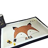 VClife® Teppich Baumwolle Polyester Kinderteppich Spielteppich Baby Karbbeldecke Kindchen Geschenk Gepolsterte Matte 145x190cm Fuchs