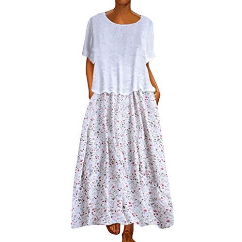 Leinen Kleider Damen Sommer Langes Kleid Vintage Mode Freizeit Kleid Blume Gedruckt Patchwork GefäLschte Zweiteilige BeiläUfige Oansatz Kaftan Kleid Luftiges Kleid Florydays Kleider Z-Weiß2 2XL -