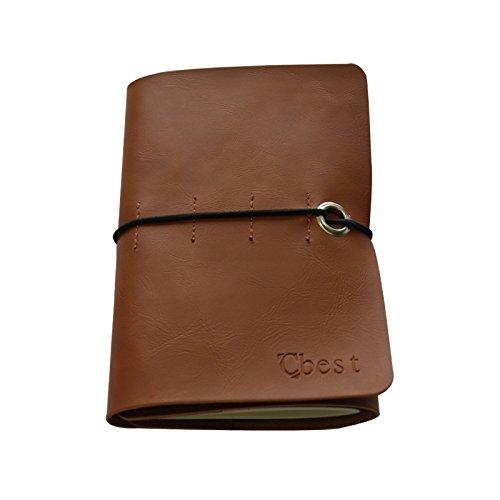 Tekon Cubierta de cuero cuaderno de piel de Vintage portátiles Recambio papel hecho a mano diario diario Jotter diario Notebook, color Coffe