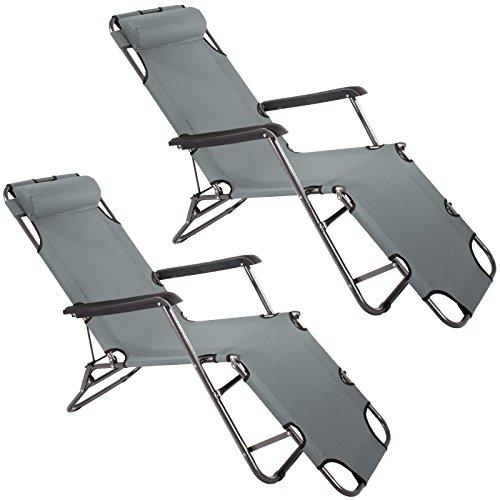 2x Smartfox Sonnenliege Gartenliege Strandliege 3 Sitz-/Liegepositionen ca. 180 cm Anthrazit - Perfekte Stuhl Square Stuhl