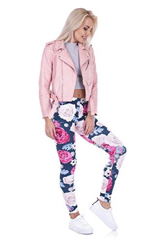 Yombre Damen Leggings One size Pink Wild Roses