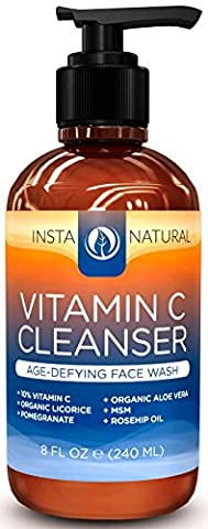 InstaNatural Vitamin C Facial Cleanser - Anti Aging Face Wash with Organic Aloe Vera - Diminishes Wrinkles, Fine Lines, Crows Feet & Minimizes Pores - Moisturizes Skin for Youthful Complexion - 6.7 fl oz / 200 ml