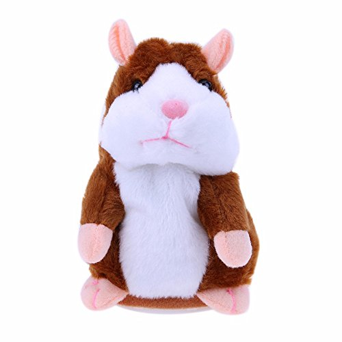 MIMINUO Talking Hamster Plush Toy Repeats What You Say, Pet Talking Plush Interactive Toys for, Kids Early Learning Toy, Birthday Gift for Children, Batteries Not Included (Brown)