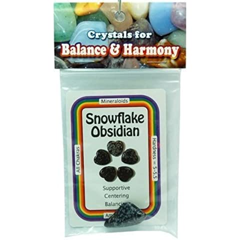 Tumbled Snowflake Obsidian - Special - XL Tumbled Stone w/Crystal Card - 2pc. Bag by Healing Crystals - Bag Obsidian