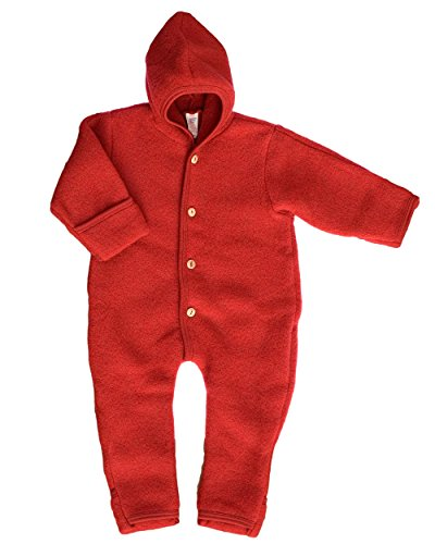 Fleece Kostüm Junge - Engel-Natur Baby Overall mit Kapuze aus Bio Schurwoll-Fleece, Rot Melange, Gr. 50/56