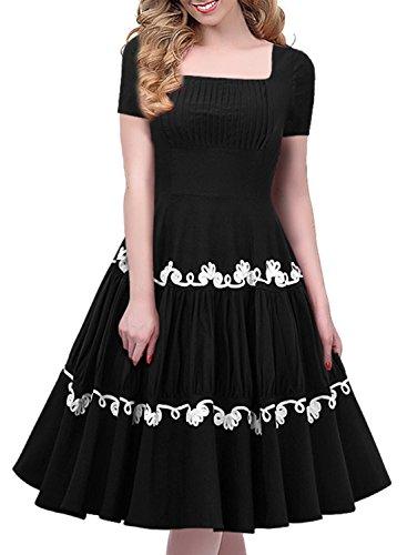 Miusol 50er Retro Rockabilly Kleid Audrey Hepburn Schwingen Bestickt Cocktailkleid Abendkleid Schwarz Gr.S -