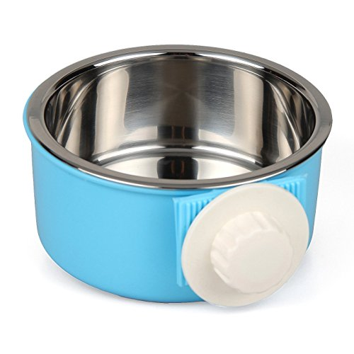AEMIAO 2 In 1 Edelstahl Fressnapf Hundenapf Katzennapf Wassernapf Schale Hund Katze Wasser Schüssel Welpen Lebensmittel Dish Vögel Lebensmittel Schüssel mit Bolzenhalter , blau (S)