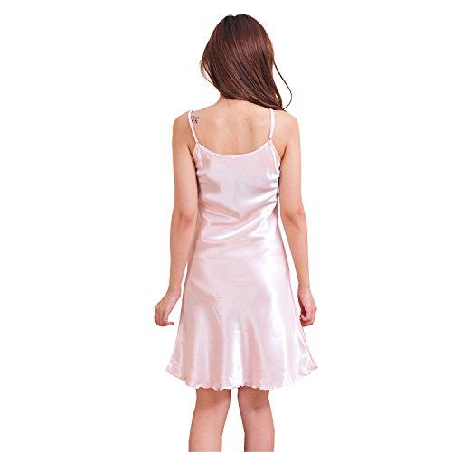 Honeystore Damen Edles Nachthemd Nachtwäsche Negligee aus Satin Lingerie Nachtkleid Tops Rosa