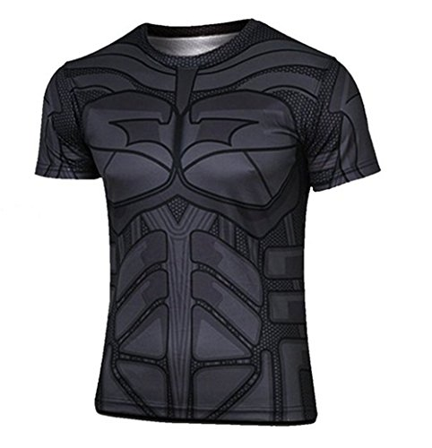 Madhero da uomo Marvel Comic Hero Avengers Batman Cosplay Manica Corta Magliette (L, Nero)