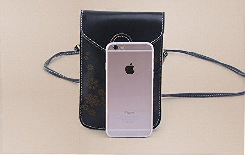 ModaKeusu Mini Crossbody Single Schultertasche PU Leder Handytasche Geldbörse Tasche für iPhone 6 Plus 5S 4 Samsung Galaxy S5 / S4 / S3 / S2 Kaffee