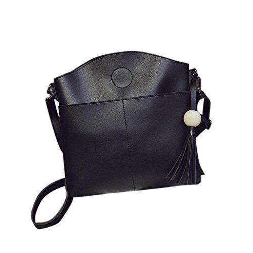 Hunpta Quaste Frauen Tasche Lederhandtaschen Cross Body Schultertaschen Messenger Tasche Schwarz