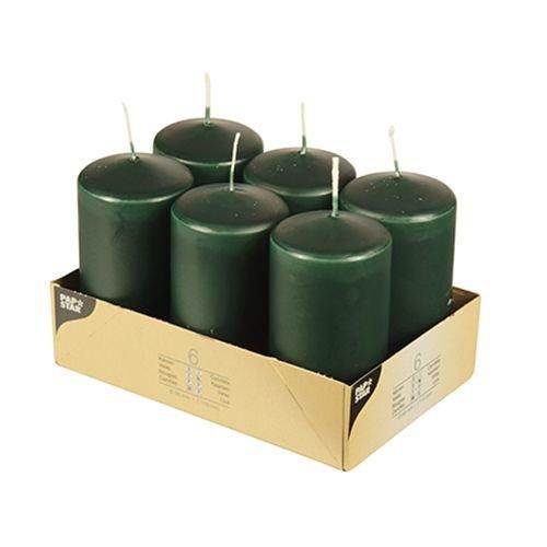 Pappstar Stumpenkerzen dunkel grün, 60 x 115mm (6 Stück)