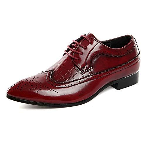 FRWANG Mode Bullock Herrenschuhe geschnitzt Herren Klassische Weiche Schnürsenkel für Mode Männer Partyschuhe,Red,48 -