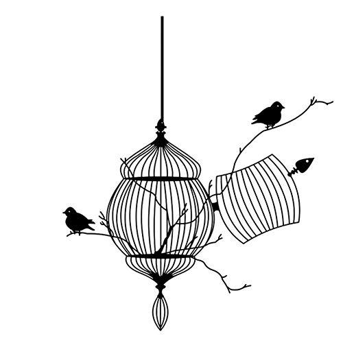 Wudi Wandsticker Vogel auf Einem AST Schwarz Cage-Wand-Aufkleber Art Home-Wandaufkleber für Räume mit Dekor (Home Vögel Dekor)