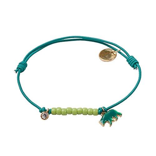lua accessories - Armband Damen - Elastikarmband - größenverstellbar - Tiermotiv - Animal Farm (Bär / petrol) (Farm Bars)