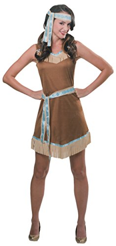 BRANDSSELLER Damen Kostüm Verkleidung - 3-Teiliges-Set - Indianer - verschiedene Größen (S/M, Beige)