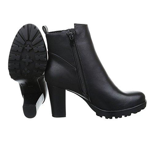 Ital-Design High Heel Stiefeletten Damenschuhe Schlupfstiefel Pump Moderne Reißverschluss Stiefeletten Schwarz JA3132