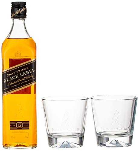 Johnnie Walker Black Label, Geschenkpackung mit 2 Gläsern Blended Whisky (1 x 0.7 l) (Johnnie Black)
