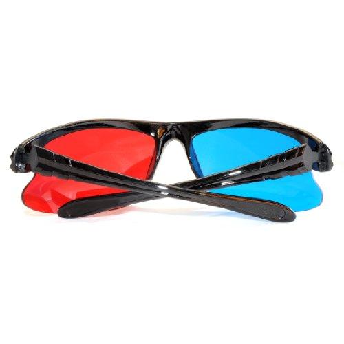 6er SET 3D Brillen für TV oder PC Spiele (rot/blau), Anaglyphenbrille für Fernseher, sportliche 3D-Gläser mit Anaglyphen-Technologie in Halbrahmenoptik - Marke Ganzoo