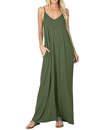 ACHIOOWA Damen Sommerkleid V-Ausschnitt Ärmellos Lang Dress Oversize -