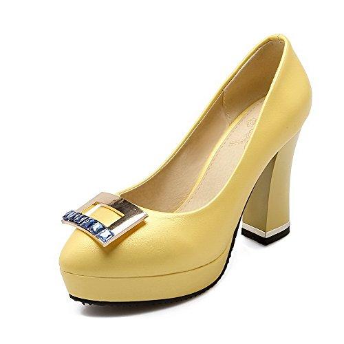 AllhqFashion Femme Rond Matière Souple Mosaïque Tire Chaussures Légeres Jaune