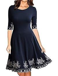 Sylar Vestidos Mujer Casual 2018, Color Sólido Cuello Redondo Manga Corta Estampado Vintage Falda Grande del Columpio Tallas Grandes