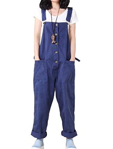 Vogstyle Women's Casual Printing Denim Jumpsuit Pants Blue